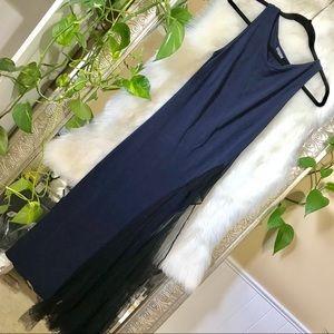 S navy mesh maxi dress